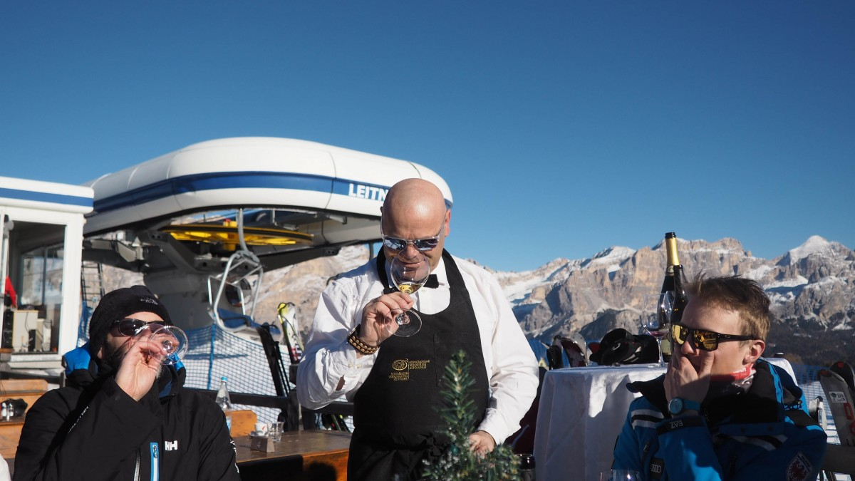 South Tyrol Skiing Sommelier on the Slopes