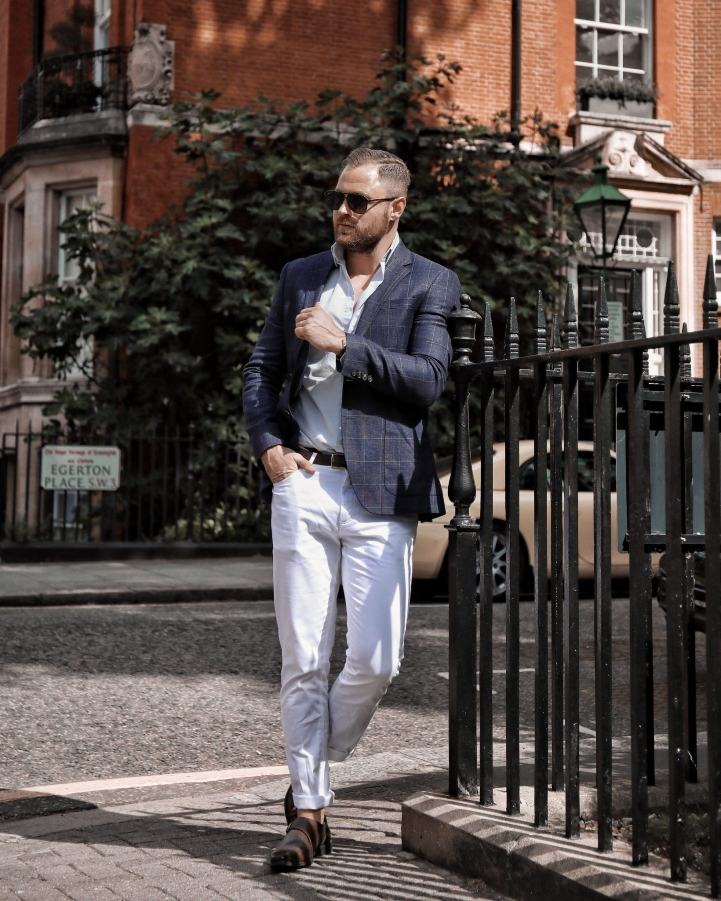 Jaeger Blazer Gucci Sunglasses Reiss Shirt Goodwin Smith Menswear Fashion Outfit
