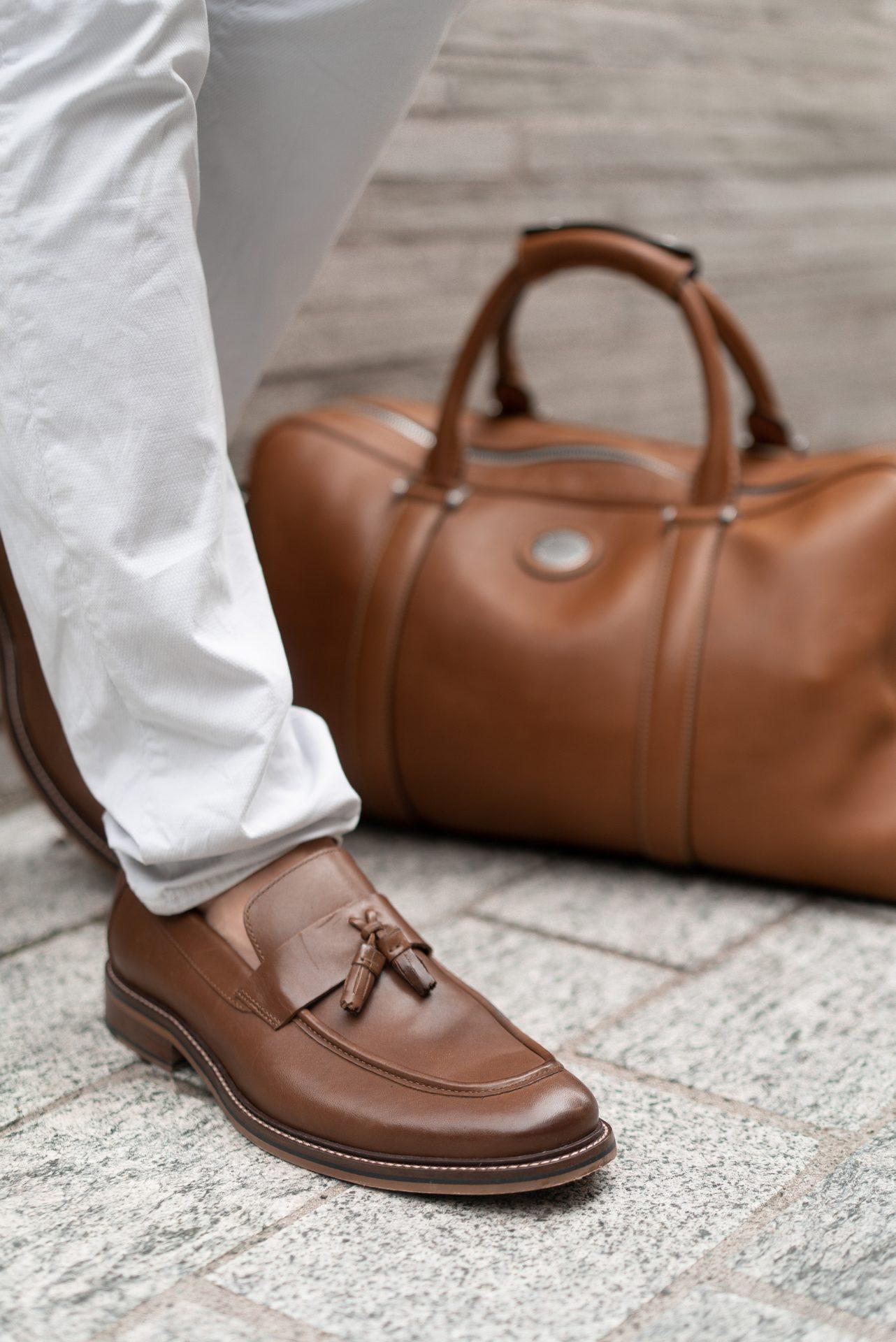 Zara Summer Autumn Menswear Look Guess Trousers Aspinal London Aerodrome Bag David Gandy
