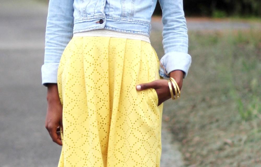 Yellow Skirt Pocket