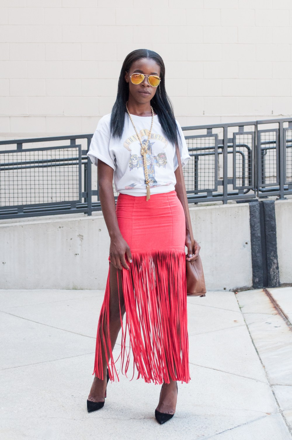 Red Fringe Skirt Outfit