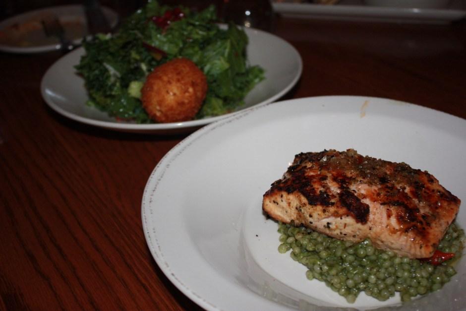 Whiskey Cake, Salmon and Kale Salad