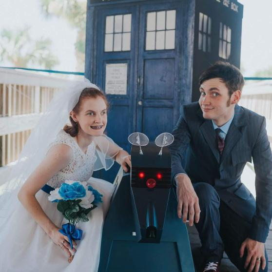 Caitlyn and Josh Wilson Doctor Who Themed Wedding TARDIS