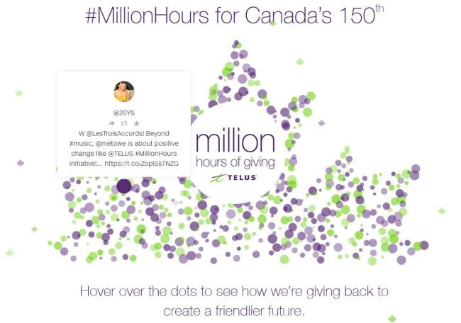 TELUS #MILLIONHOURS CELEBRATES CANADA'S BIRTHDAY