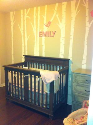BoyGirl Twin Modern Nursery With Custom Mural