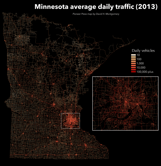 Average daily traffic on measured Minnesota roads, presented on a logarithmic scale. (Pioneer Press: David Montgomery)