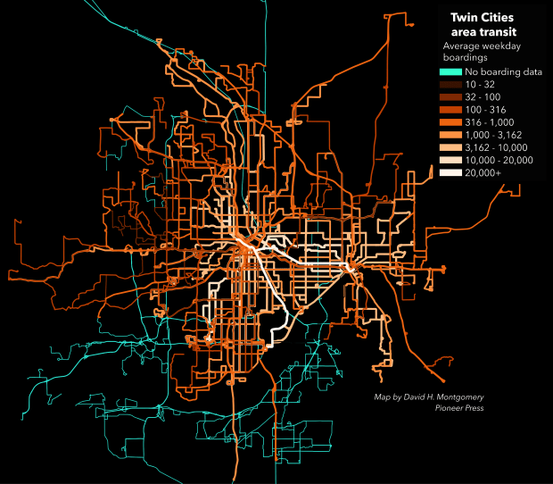 Twin Cities mass transit routes, colored and scaled by 2015 average weekday boardings. (Pioneer Press: David Montgomery)