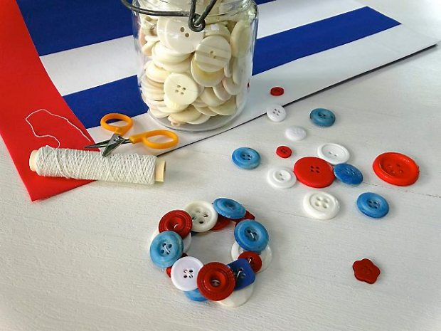 Create a simple stretch bracelet from your jar of extra buttons. (Donna Erickson)