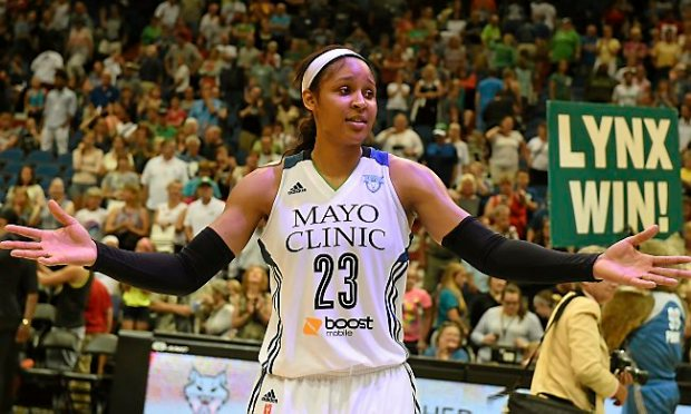 Minnesota forward Maya Moore Moore achieved her seventh straight game with 20-plus points Sunday, July 19, 2015, matching her franchise record. (Pioneer Press: John Autey)