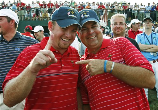 J.B. Holmes, left and Kenny Perry celebrate the United States' victory in the Ryder Cup golf tournament at the Valhalla Golf Club, in Louisville, Ky., on Sept. 21, 2008.