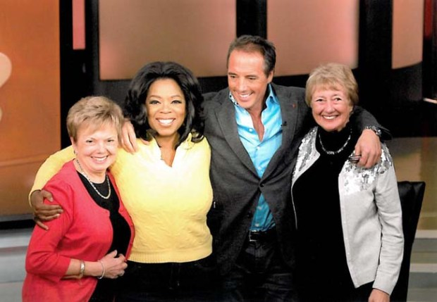 "Undated courtesy photo of Dan Buettner, Minnesota author and explorer, has been a guest on ""Oprah"" twice. Here he is with his aunt Judy Walsh, Oprah Winfrey and his mother Dolly Buettner after an episode that aired earlier this year. L-R Judy Walsh, Oprah Winfrey, Dan Buettner and Dolly Buettner. Credit: George Burns, Harpo Inc."