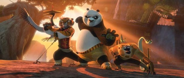 Po the Panda, voiced by Jack Black, and his kung fu-loving pals join together to foil at evil peacock.