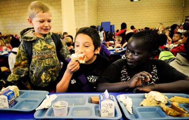 Students eat breakfast at Prairie Elementary School in Worthington, Minn., on Friday, September 10, 2011. It's the town's only elementary school, boasting more than 1,000 students for grades k-4.(Pioneer Press: Ben Garvin)