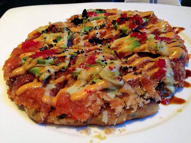 Spicy tuna pizza at Haiku Bistro. (Jess Fleming / Pioneer Press)