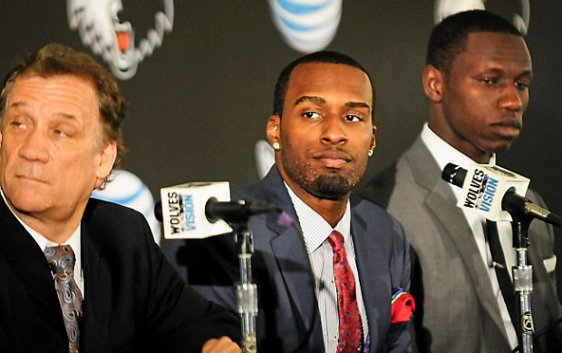 Wolves President of Basketball Operations Flip Saunders, left, with newly-acquired guard/forward Shabazz Muhammad (14th pick, center) and center Gorgui Dieng (21st pick) speak at a press conference at Target Center in Minneapolis, Minn., on Friday, June 28, 2013. (Pioneer Press: Ben Garvin)