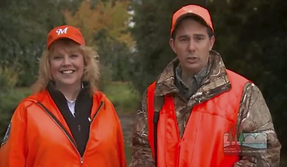 DNR Secretary Cathy Stepp, left, gets a chance to talk -- again -- about the deer she got last year. (Courtesy of Wisconsin DNR)