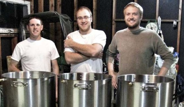 Tin Whiskers owners, from left, Jeff Moriarty, George Kellerman Jake Johnson went to engineering school together at the University of Minnesota. (Courtesy of Tin Whiskers Brewing)