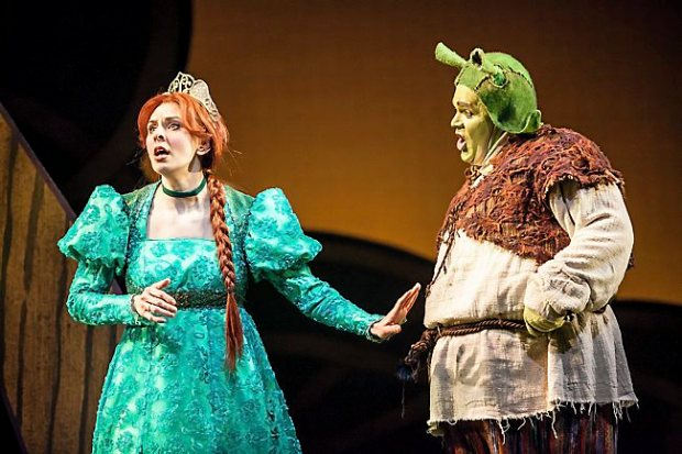 "Autumn Ness and Reed Sigmund in ""Shrek: The Musical"" at Children's Theatre Company in Minneapolis. (Courtesy photo: Dan Norman)"