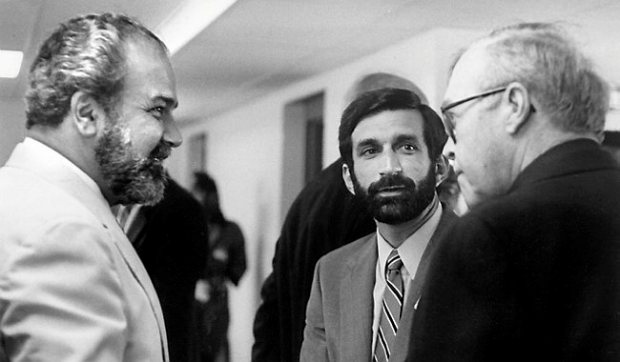 Former St. Paul Mayor George Latimer, left, talks with Joe Errigo, then head of an affordable housing agency, and then-Archbishop John Roach, in 1980. (Courtesy of CommonBond Communities)