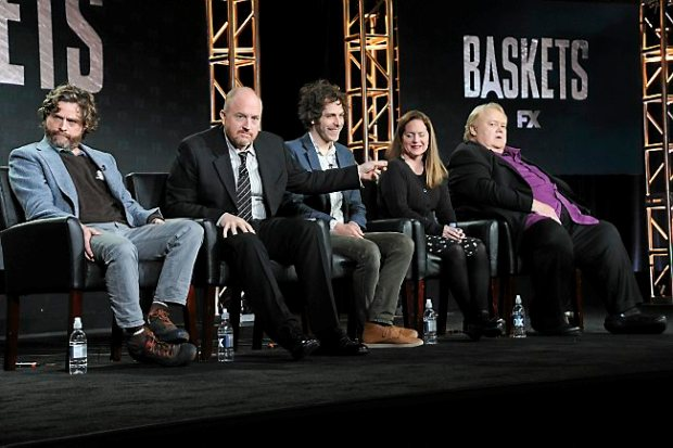 """Actor/co-creator/executive producer Zach Galifianakis, from left, co-creator/executive producer Louis C.K., co-creator/executive producer/director Jonathan Krisel and actors Martha Kelly and Louie Anderson participate in the """"Baskets"""" panel at the FX Networks Winter TCA on Saturday, Jan. 16, 2016, in Pasadena, Calif. (Photo by Richard Shotwell/Invision/AP)"""