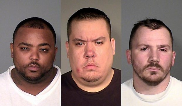 Brandon Lamar Cooper, left, Bradley James Cook and Ernest Donald Atchison Jr. have been charged in the death of Justin Niles Wright of Maplewood. (Courtesy of Ramsey County sheriff)