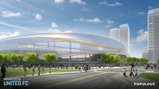 A rendering of the Minnesota United FC soccer stadium's exterior. (Courtesy of Minnesota United)