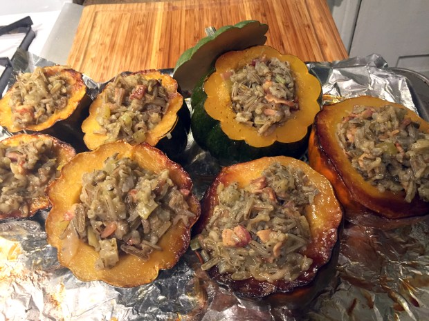 Pancetta and wild rice stuffed squash from Twin Cities' Homegrown Foods. (Pioneer Press: Nancy Ngo)
