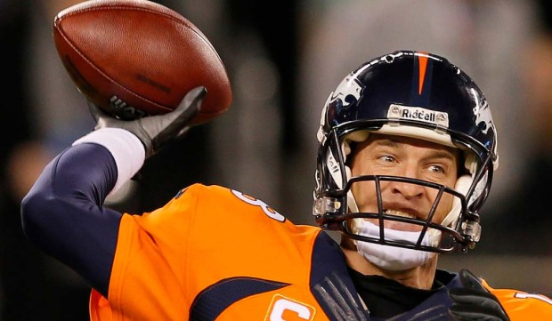 """Sure, quarterback Peyton """"The Sheriff"""" Manning's Denver Broncos took a drubbing in this year's Super Bowl. But as pro football goes, this 40-year-old gunslinger is geriatric. (Getty Images: Kevin C. Cox)"""