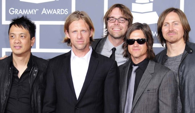 Drummer Chad Butler, right, of the San Diego alt-rock band Switchfoot is 42. He's shown in 2011 with bandmates, from left Jerome Fontamillas, Jon Foreman, Drew Shirley and Tim Foreman. (Getty Images: Robyn Beck)
