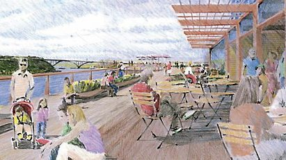 A rendering shows St. Paul's proposed River Balcony, an elevated pedestrian path that would provide visual and physical connections between downtown and the Mississippi River. (Courtesy of city of St. Paul)