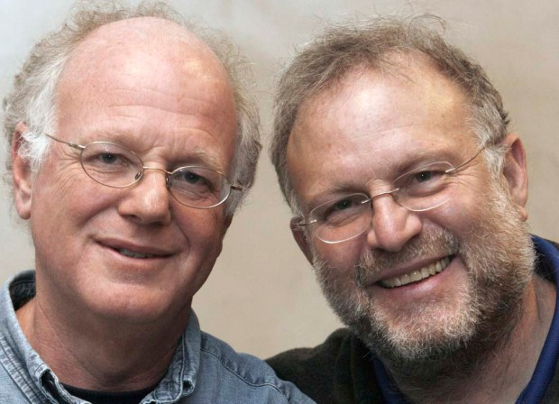 Vermont ice cream entrepreneur Jerry Greenfield, right, is 65. At left is his Ben & Jerry's Ice Cream co-founder Ben Cohen. (Associated Press: Toby Talbot)