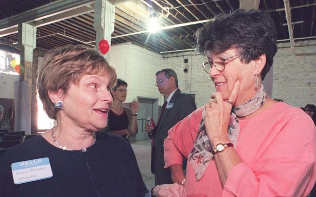 "Minnesota resident and author Judith Guest, right, best known for her novel ""Ordinary People,"" is 80. She's shown with Emilie Buchwald, founder of Milkweed Editions, at a literary event in 1999. (Pioneer Press archives)"