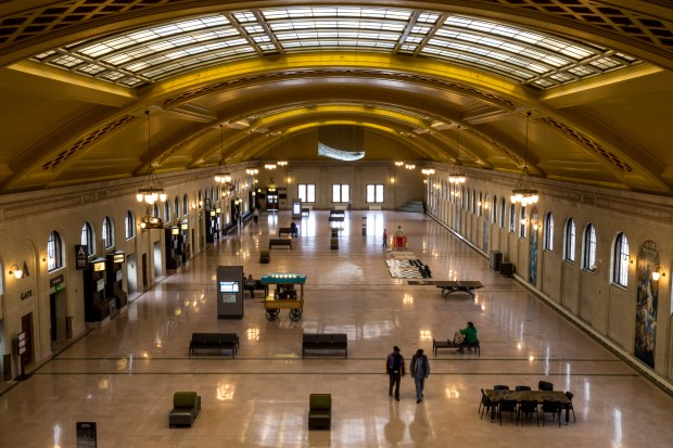 The Union Depot's waiting room, which extends the length of a football field, is seen from the depot's Red Cap Room on March 9, 2016. (Pioneer Press: Andy Rathbun)