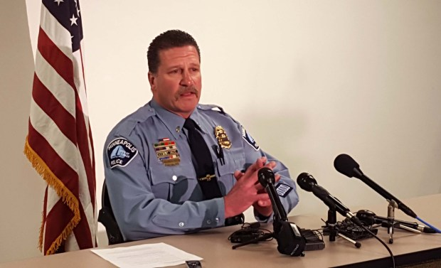 Minneapolis police union president Bob Kroll speaks to the media about the Jamar Clark case Wednesday, March 30, 2016. (Pioneer Press: Andy Rathbun)