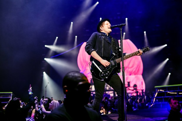 Fans at left snap cellphone photos of Patrick Stump of Fall Out Boy at the Xcel Energy Center in St. Paul on Sunday, March 13, 2015. (Courtesy photo: Joe Lemke)