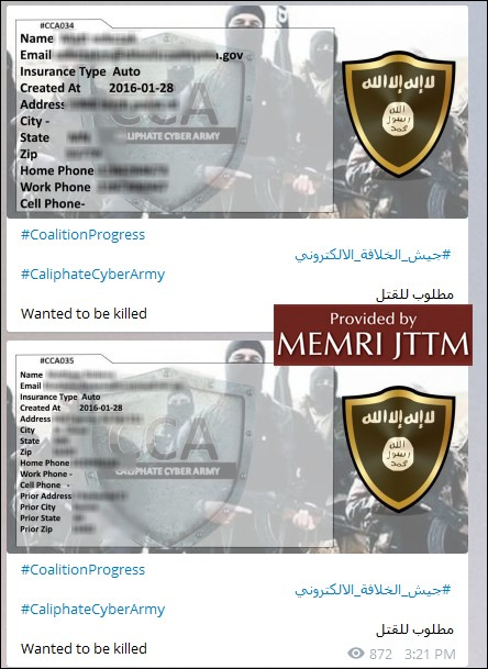 The Middle East Media Research Institute's Jihad and Terrorism Threat Monitor took screengrabs of personal information posted about Minnesota police officers, reportedly by the Caliphate Cyber Army, a group of hackers affiliated with ISIS. The institute redacted the officers' information. (Courtesy Middle East Media Research Institute)