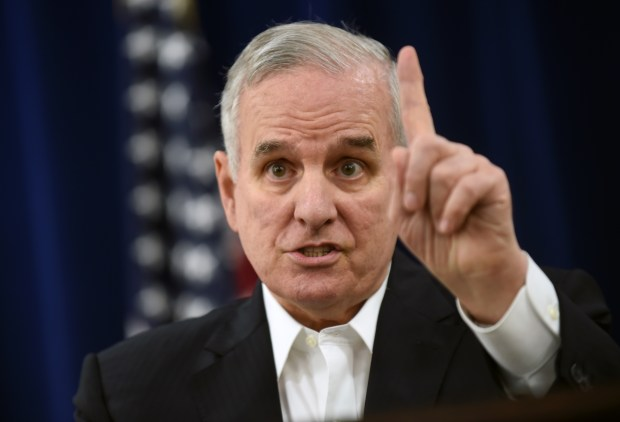 Minnesota Governor Mark Dayton speaks at a news conference at the State Capitol in St. Paul on Sunday, May 17, 2015, the day before the last day of the legislative session. (Pioneer Press: Scott Takushi)
