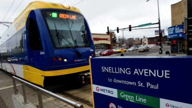 The Snelling Green Line light rail transit stop is near the new site of the Minnesota United FC soccer stadium and might get a branding makeover. (Pioneer Press: Jean Pieri)