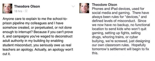 Theo Olson is a special-education teacher at Como Park Senior High School in St. Paul. (Screenshots from Facebook)
