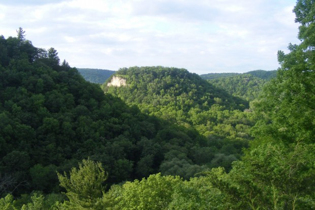 The hills of Whitewater State Park are seen June 19, 2010. (Courtesy of the Minnesota Department of Natural Resources)