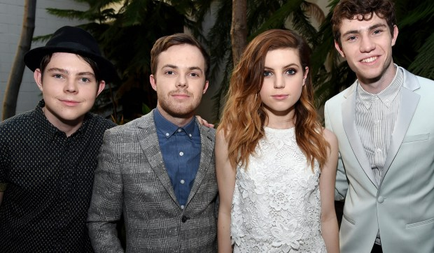 Echosmith lead guitarist Jamie Sierota, second from left, is 22. He's shown with his sibling-bandmates, from left Graham Sierota, Sydney Sierota and Noah Sierota. (Kevin Winter/Getty Images)
