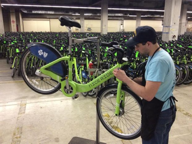 Nice Ride Minnesota technician Jeff Shockley tunes up one of the system's 1,700 bicycles in advance of the 2016 riding season. (Courtesy photo: Michele Molstead / Nice Ride Minnesota)