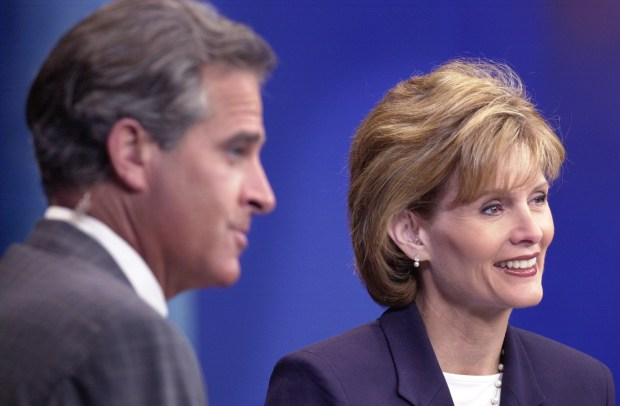 KARE-TV news anchors Paul Magers and Diana Pierce at the close of the 5 p.m. news broadcast in 2001. (Pioneer Press file photo)