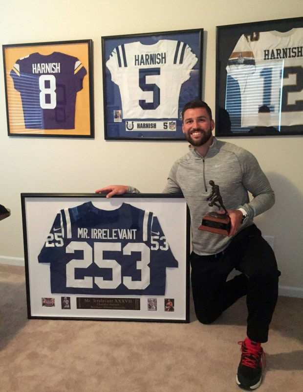 Chandler Harnish with his Mr. Irrelevant jersey. He was the last player chosen in the 2012 draft, selected 253rd overall by the Indianapolis Colts. He has also played for the Minnesota Viking and the Arizona Cardinals. (Courtesy photo)