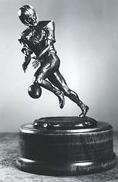 Presented to the last player drafted in the NFL draft, The Lowsman Trophy depicts a football player fumbling a ball. (Courtesy photo)