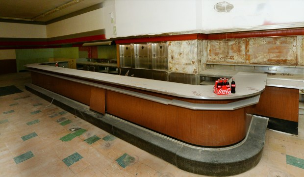 The lunch counter at the former Woolworth Department Store building at Seventh Place and Minnesota Street in downtown St. Paul photographed on Tuesday, April 26, 2016. (Pioneer Press: John Autey)