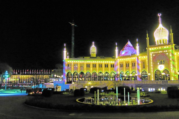 The bright lights of Copenhagen's Tivoli Gardens are one of the city's most famous attractions. (Amy Laughinghouse)