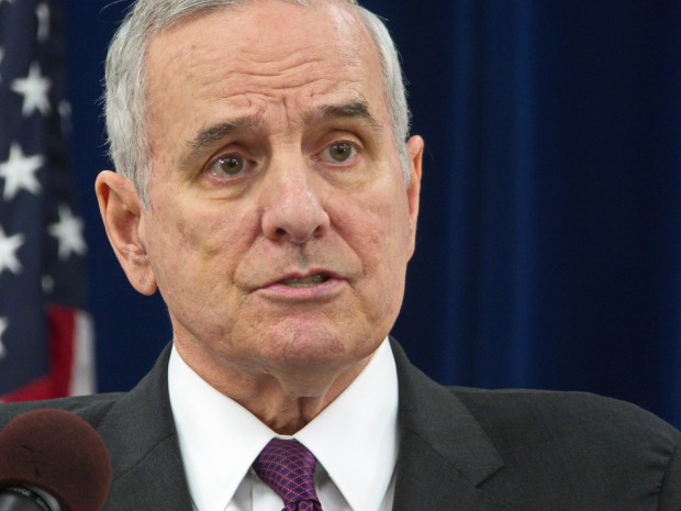 Minnesota Gov. Mark Dayton says on Monday, May 16, 2016, that he has offered a transportation funding compromise and now it is time for legislators to approve a plan. (Forum News Service: Don Davis)