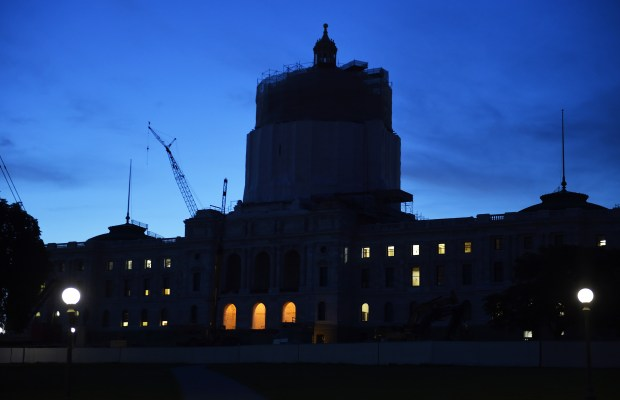The State Capitol in St. Paul was lit up late into the night, as the legislative session wound down to a close Sunday night, May 22, 2016. (Pioneer Press: Scott Takushi)