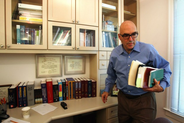 Dr. Howard Kornfeld, a physician who specializes in addiction treatment and pain management, is pictured in his office in Mill Valley, Calif., on Aug. 13, 2008. His attorney says Prince's representatives reached out to Kornfeld on April 20, the day before Prince was found dead in his studio compound in suburban Minneapolis. Unable to immediately fly to Minnesota, Kornfeld sent his son Andrew in an effort to convince the musician to seek long-term care at his Recovery Without Walls center in Mill City. (Liz Hafalia/San Francisco Chronicle via AP)